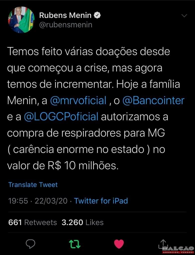 Rubens Menin anuncia doação de R$10 milhões para compra de respiradores em Minas