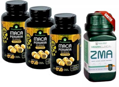 Maca Peruana Pura 360 Cps Estimula Testosterona + ZMA Grátis