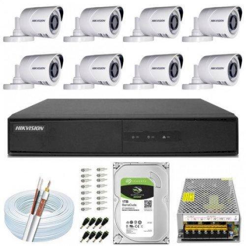 Kit Cftv 8 Câmeras Hikvision Full Hd 1080P + Dvr 8Ch + Acess