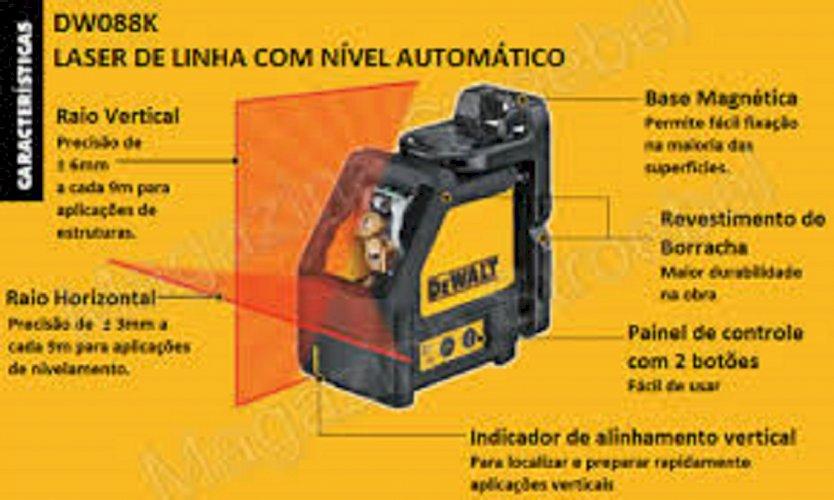 Nível a Laser auto Nivelador em Linha 2 Pontos com Maleta Alcance 15m